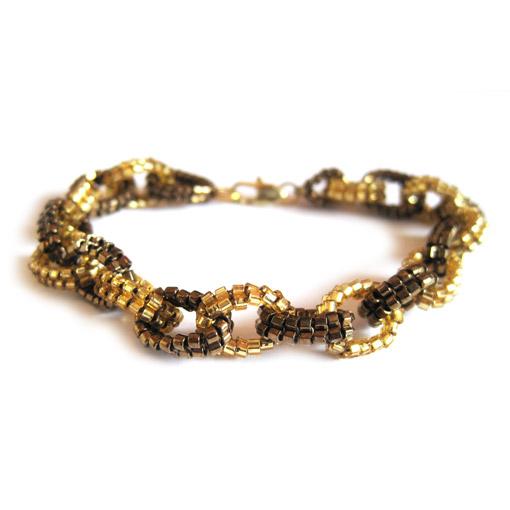 Beaded link bracelet - gold