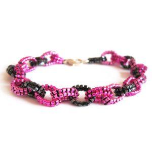 Beaded link bracelet - pink