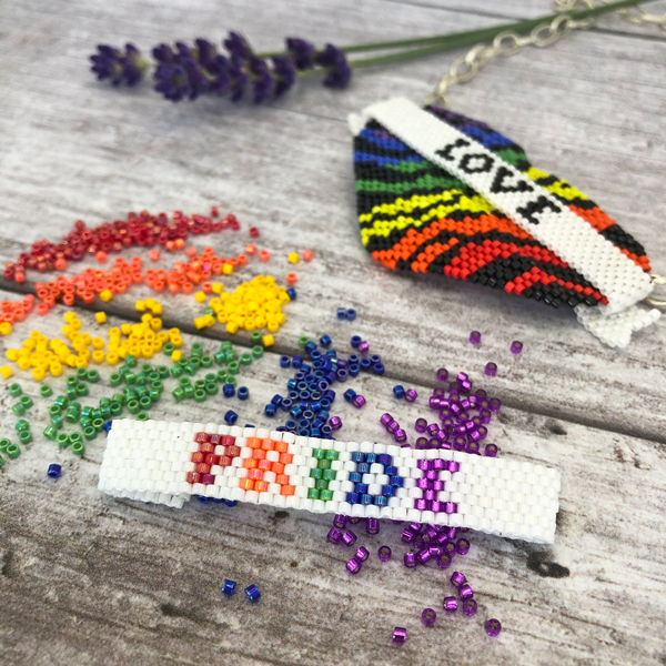 Wild at Heart LGBT+ Pride heart and beader banner tutorial with Delica beads