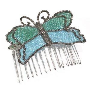 Nora's Butterfly beaded comb workshop at Stitchncraft Beads near Shaftesbury