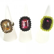 Crystal Cocktail Ring Trio