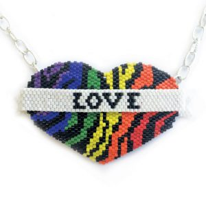 Rainbow Love Wins Beaded Heart Pattern