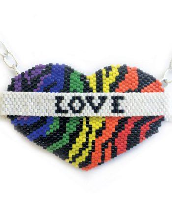 Rainbow Pride Love Wins Beaded Heart Necklace Pattern