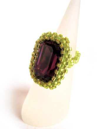 Crystal cocktail ring - green and purple