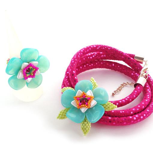 Aloha Petals pattern ring and cuff