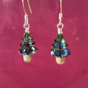 Swarovski Crystal handmade Christmas Tree earrings in Vitrail green, sterling silver