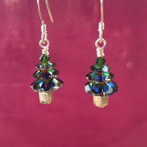 Swarovski Crystal handmade Christmas Tree earrings in Vitrail green, sterling silver