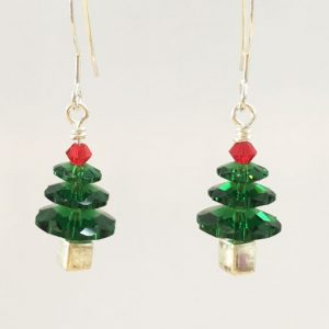 Festive handmade Swarovski Christmas Tree earrings