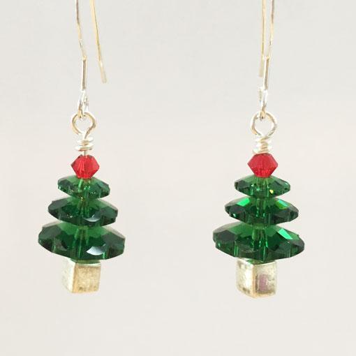 Festive handmade Swarovski Christmas Tree earrings