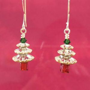 Handmade Swarovski Crystal Christmas Tree earrings in silver