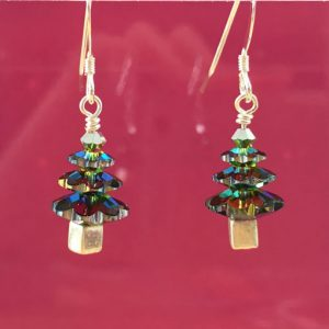Sterling silver Swarovksi crystal Christmas tree earrings in Vitrail Medium