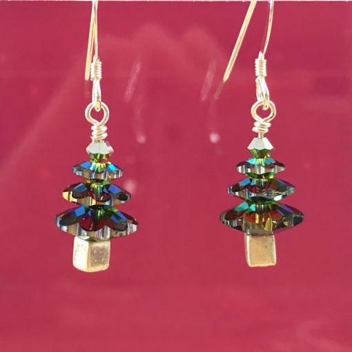 Sterling silver Swarovksi crystal Christmas tree earrings in Vitrail Medium