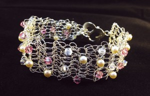 Wire and crystal crochet bridesmaid cuff