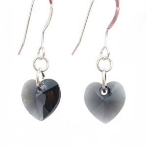 Swarovski crystal heart earrings - Graphite