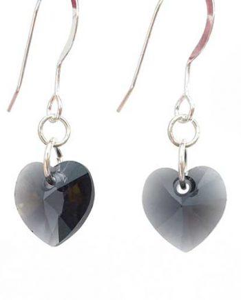 Swarovski crystal heart earrings - Graphite