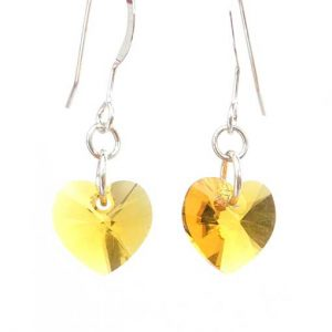 Swarovski crystal heart earrings - Sunflower yellow