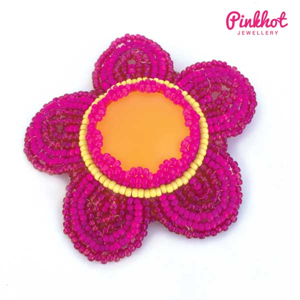 Bead embroidered flower brooch as seen in Making Jewellery magazine