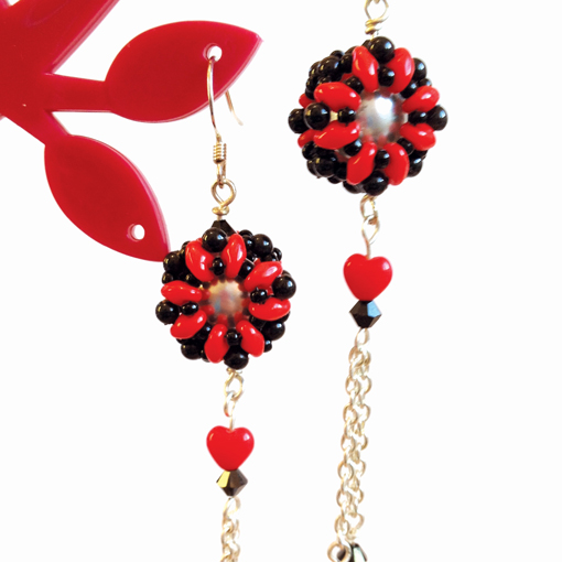 Bubble bead earrings with superduos