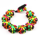 Neon bubble bangles with super duo beads