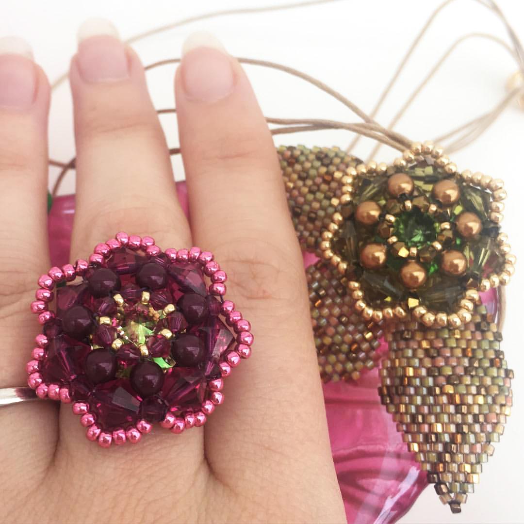 Crystal Leaves Ring by Chloe Menage
