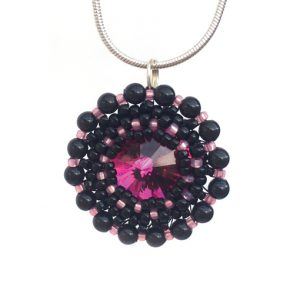 Handmade Crystal Galaxy Necklace in Fuchsia Pink