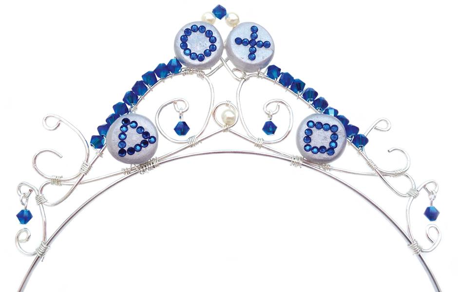 Laura's Playstation themed wedding tiara