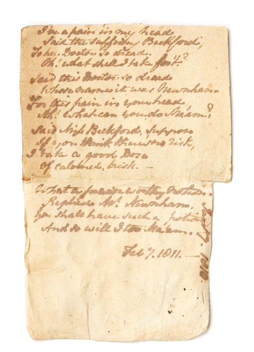Jane Austen's poem 'I've a pain in my head'