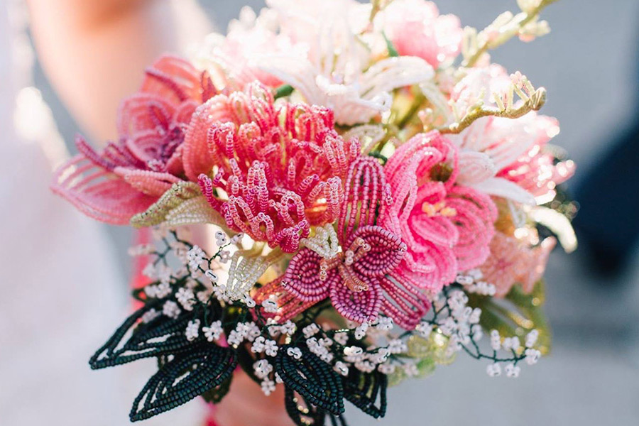 Beaded wedding bouquet