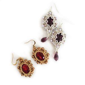 Royal Treasures earrings right angle weave beading tutorial