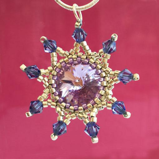 Purple and silver handmade beaded Starburst Pendant