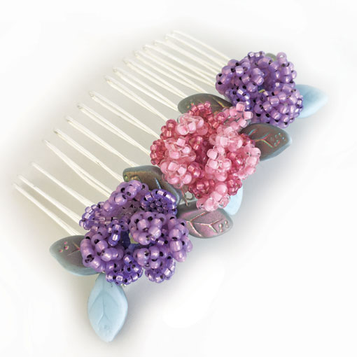 Perfect peonies beaded hair comb pattern perfect for handmade weddings
