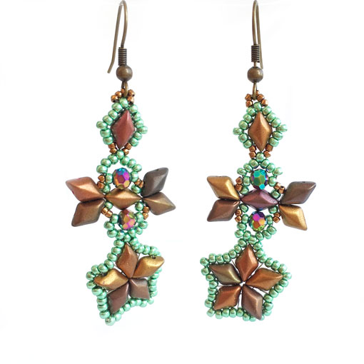 Handmade beaded earrings - Sky Diamonds in Gold and Bronze
