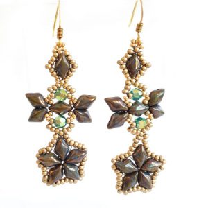 Handmaded beaded earrings - Sky Diamonds in Picasso Gold
