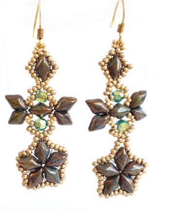 Handmaded beaded earrings - Sky Diamonds in Picasso Gold