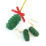 Beaded Christmas Pickle Ornament
