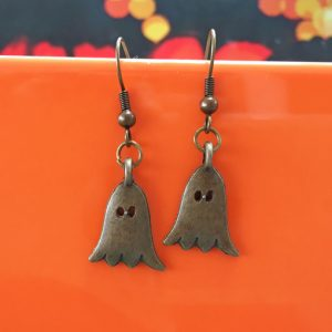Friendly ghostie halloween earrings handmade by Chloe Menage