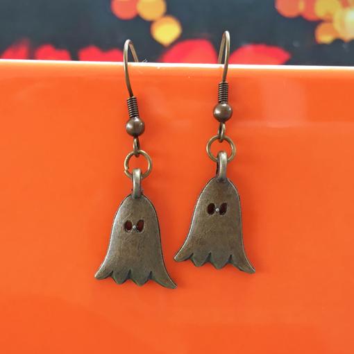 Friendly ghostie halloween earrings handmade by Chloe Menage