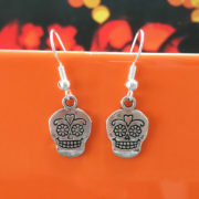 Handmade sugar skull earrings for halloween by Chloe Menage