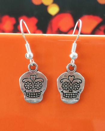 Handmade sugar skull earrings for halloween by Chloe Menage