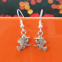 Handmade teeny witch halloween earrings by Chloe Menage