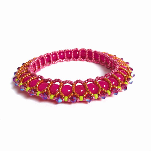 Celebration Bangle in orange and pink by Chloe Menage - beading pattern