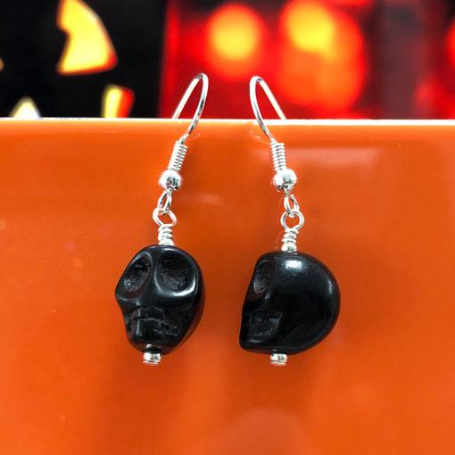 Handmade black howlite skull earrings