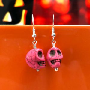 Handmade pink howlite gemstone skull earrings