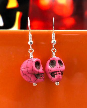 Handmade pink howlite gemstone skull earrings