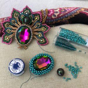 peacock pendant workshop with Chloe Menage - online beading workshop via zoom