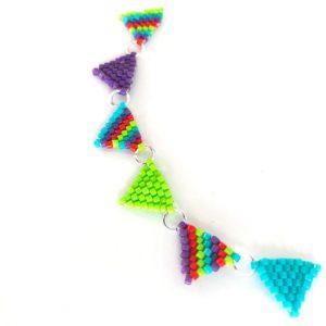 Rainbow beaded bunting necklace Zoom workshop