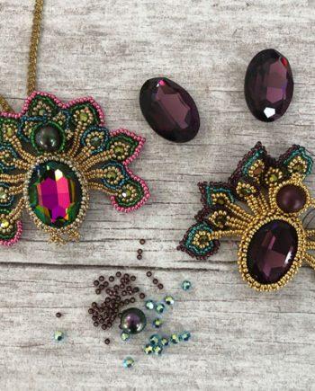 Peacock Pendant beading materials pack for Chloe Menage's Workshop