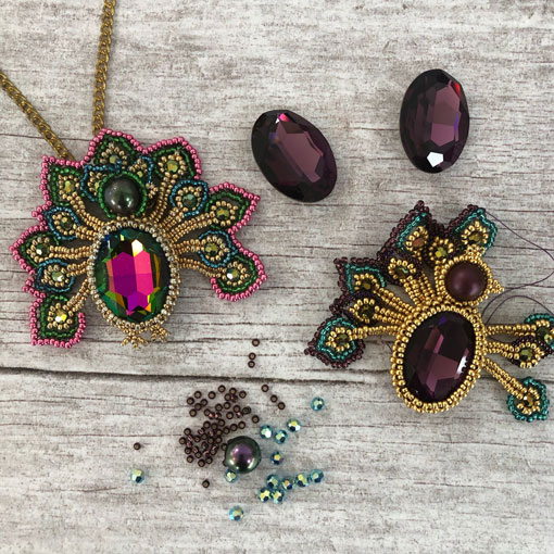 Peacock Pendant Workshop Materials Packs with Swarovski crystals