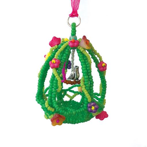 Reves beaded bird cage ornament