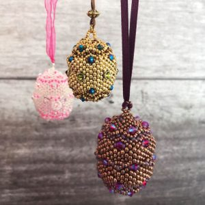 Imperial Eggs Faberge style egg beaded pendant with Chloe Menage